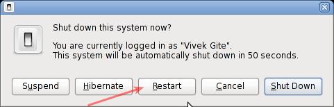 Linux Gnome Desktop Reboot Command