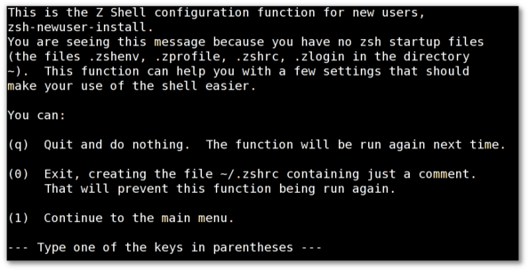 Unix / Linux zsh First Run Configuration