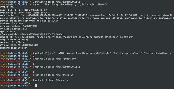 How to find if a website using gzip / deflate compression using curl on Linux and Unix