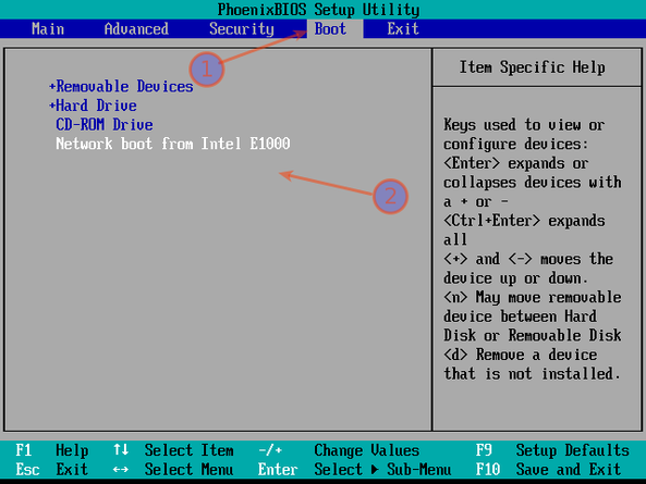 Fig.01: Sample pxeboot bios setting