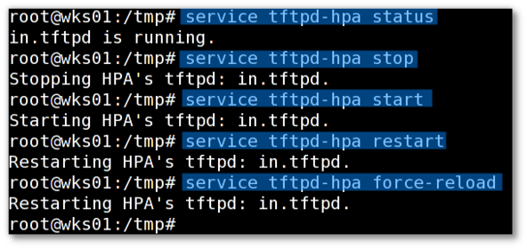 Fig.02: Starting / Stopping / Restarting the tftpd server commands