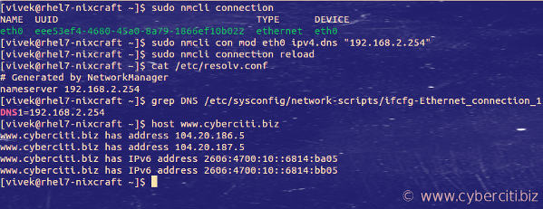 How to change DNS ip address in RHEL server