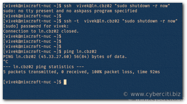 SSH restart Linux system command