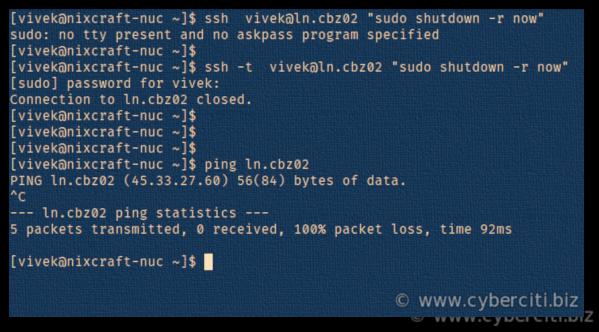 SSH restart Linux system using reboot command - nixCraft