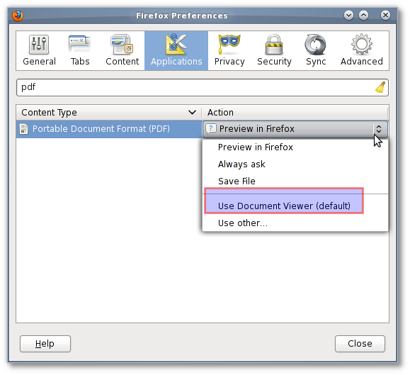 Fig.02: Set the default action for the pdf file