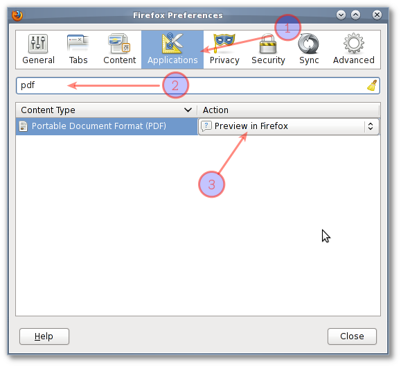 Fig.01: Setting pdf application preferences