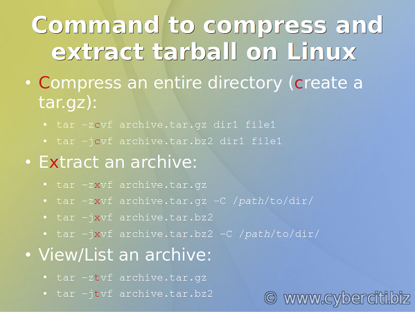 How to tar a file in Linux using command line