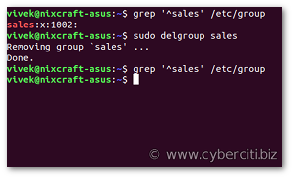 Delete group in Linux using delgroup command