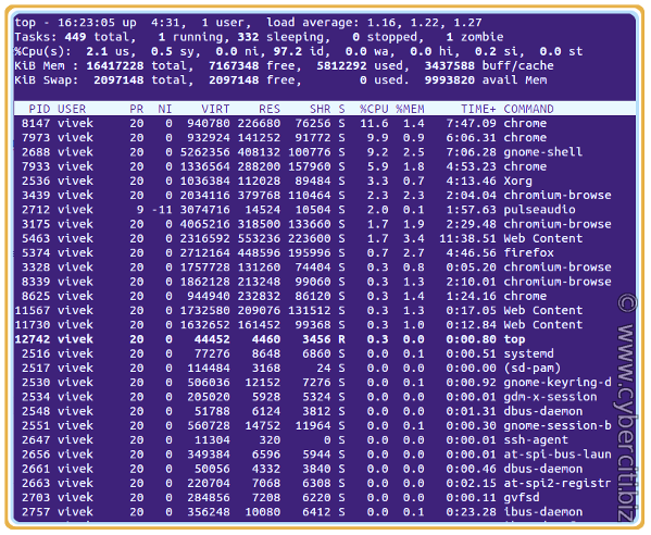 Linux list processes by user name using top command