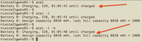 Fig.01: Showing acpi battery status on Linux