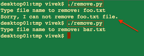 Python Delete/Remove a File If Exists On Disk - nixCraft
