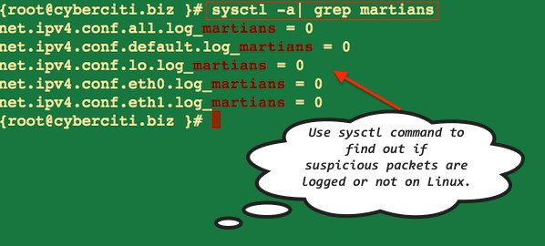 Log Suspicious Martian Packets and find out if suspicious packets are logged or not on Linux