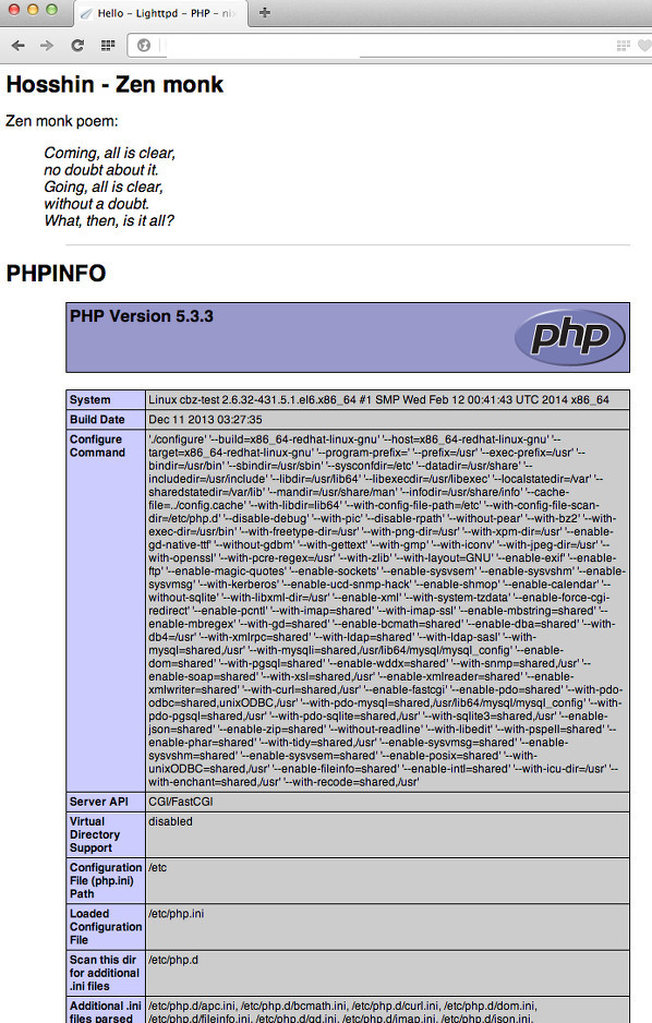 Fig. 01: PHP in action on a CentOS Lighttpd based server