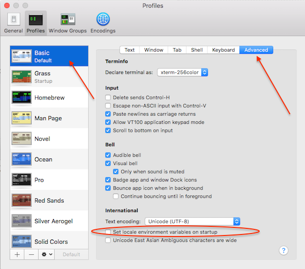 Fig.03: Unsetting 'Set locale environment variables on startup' check box on OS X EI Caption