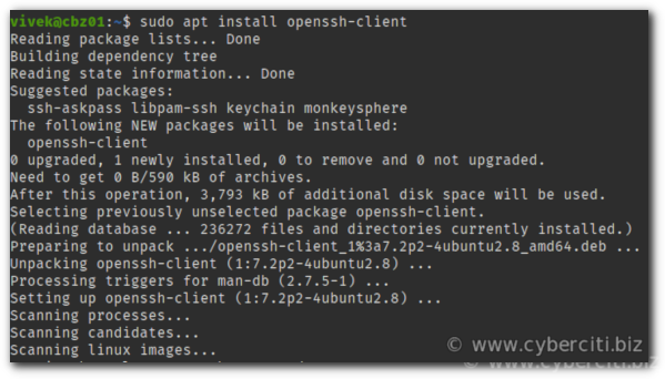 apt-get command to install ssh on Ubuntu Linux