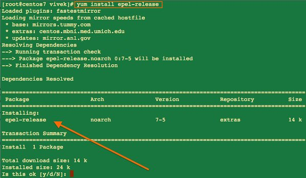 Fig.01: Installing epel-release package on a Centos 7