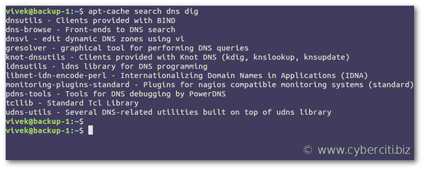 Find out which package provides dig command on Debian Linux