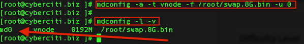 Fig.02: FreeBSD find out swap device name created/attached with the mdconfig command