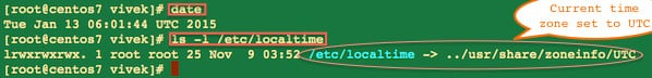 Fig.01: Finding current timezone on a CentOS Linux