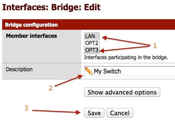 Fig.03: Configure bridging of interfaces (lan and opt3)