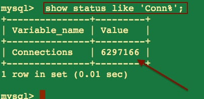 "Fig.01: ""show status like 'Conn%';"" in action"