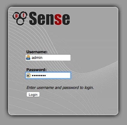 Fig.02: PFSense admin Login Username and Password