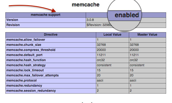 Fig.02: PHP Memcached Check the Installation Test Script