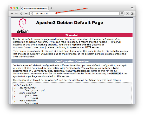 Fig.02: The default Apache 2 page on Debian Linux 8