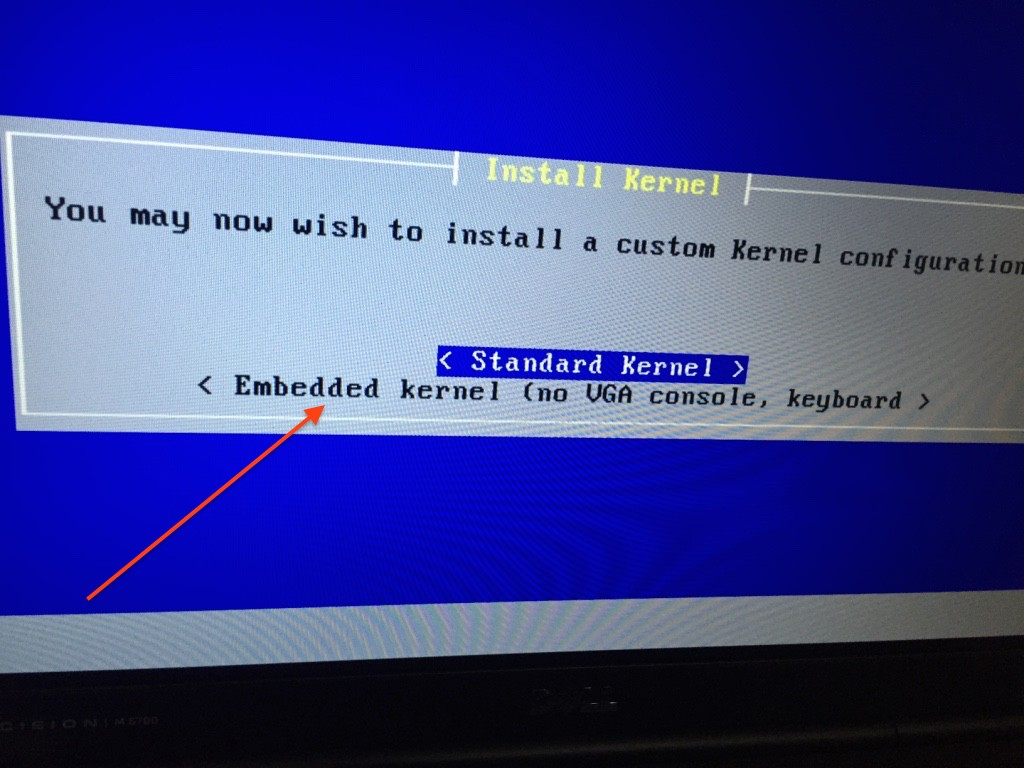 For Soekris embedded device select NO VGA/Keyboard option i.e. use serial console to see boot options