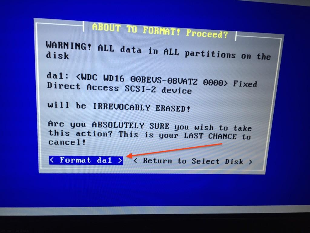 Confirm disk formatting