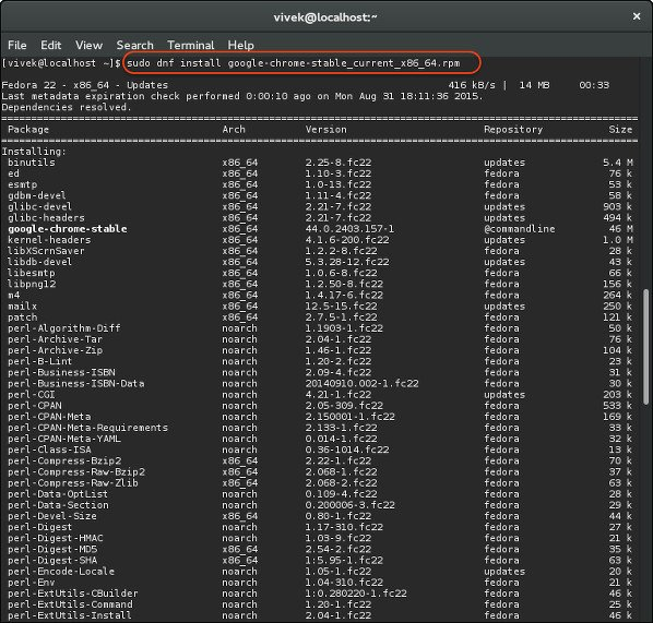 Fig.03: Installing Google Chrome 78 on a Fedora using dnf command