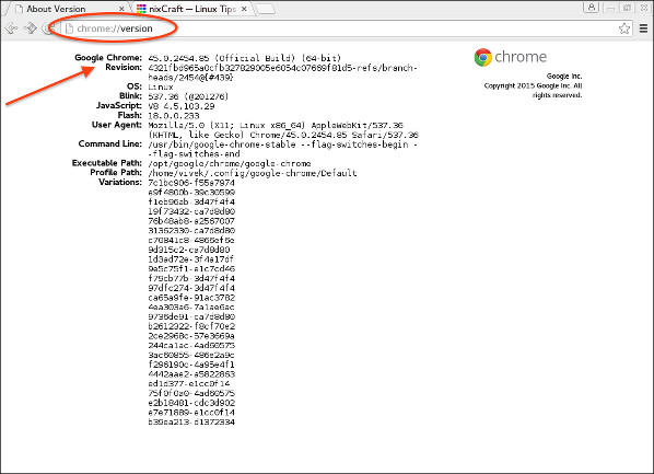 Google Chrome 45 in action on a Fedora Linux 22