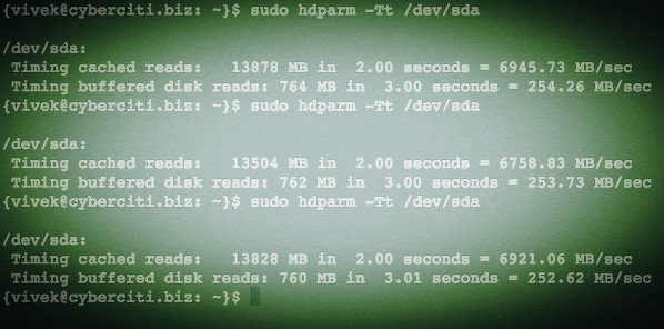 Fig.02: Linux hdparm command to test reading and caching disk performance