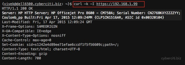 Fig.01: Find Out HP Network Printer Serial Number using curl