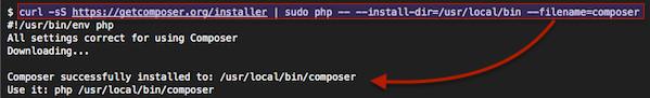 Fig.01: Installing composer on your server running Ubuntu Linux