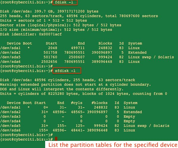 Fig.01: Linux List Disk Partitions Command