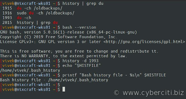 Linux bash shell delete a single command from history file