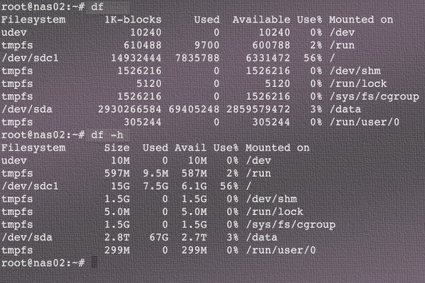 Fig.01: linux check disk space with df command