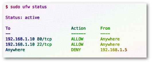 Fig.01: ufw firewall status