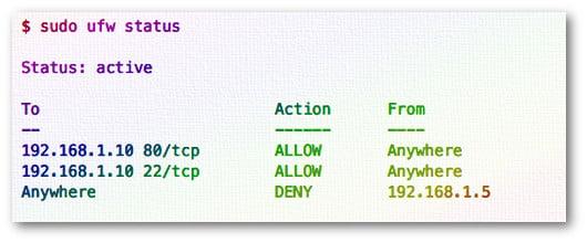 Fig.01: ufw firewall status