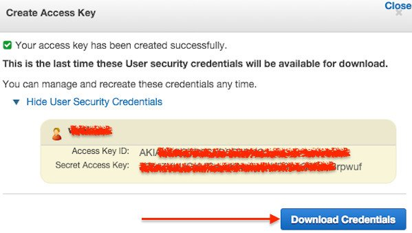 Fig.03: Choose Download Credentials, and store the keys in a secure location