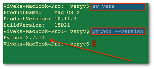 Fig.01: OS X Find Out Python Version