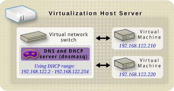Fig.01: Libvirt uses a program, dnsmasq for DNS and DHCP for default network.