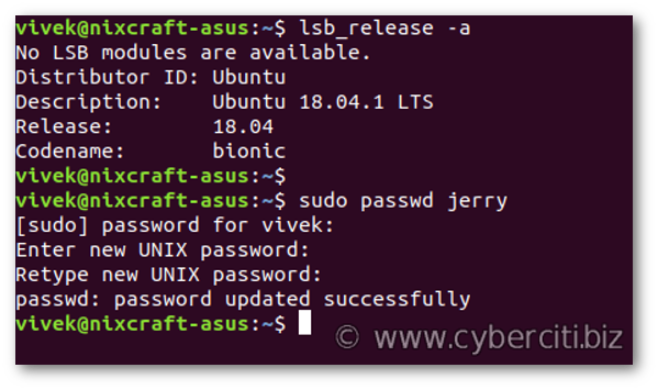 How to change a user password in Ubuntu Linux