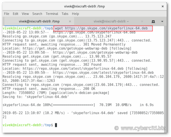 Download Skype DEB file using wget on Debian 9