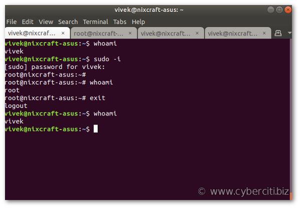 How to become superuser on Ubuntu Linux using sudo command