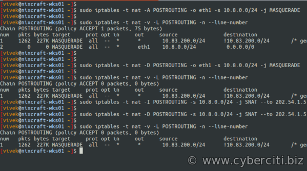 Linux Iptables Delete postrouting rules commands