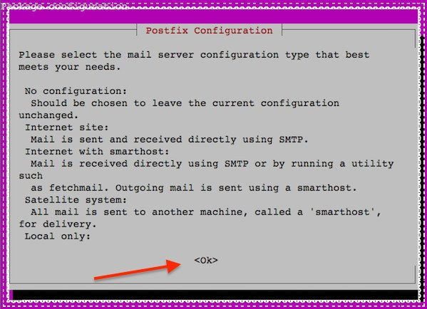 Fig.01: Postfix config during installation on an Ubuntu or Debian server