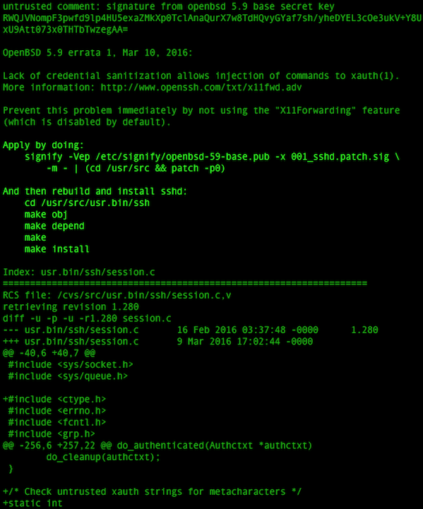 Fig.05: Finding more info about the patch and how to apply it on OpenBSD