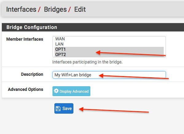 How to configure Wi-fi+Lan bridged access point in pfSense firewall